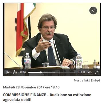 COMMISSIONE FINANZE - Audizione su estinzione agevolata debiti