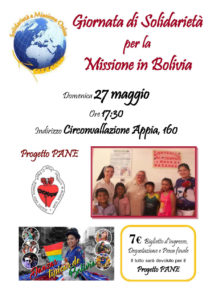 Evento di sponsorizzazione per la missione in Bolivia, Domenica 27 Maggio ore 17.30 - Circonvallazione Appia 130.
