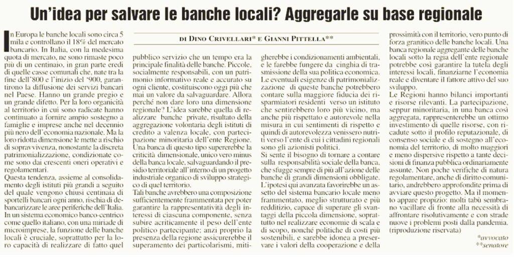 Un'idea per salvare le banche locali? Aggregarle su base regionale.
